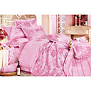 6-pc Luxury Pink Jacquard Cotton Full Size Duvet Cover Set - Free Shipping (0586-FZ009)