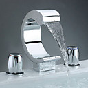 Two Handles Widespread Waterfall Bathroom Sink Faucet - Free Shipping (0698 -M-6005)