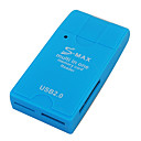 S-Max All-in-1 USB 2.0 SDHC SD/MMC/RM MMC/TF/MS/Micro MS (M2) Card Reader (Blue)