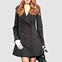 Big Knotched Collar Skirt Shape Pea Coat Women's Coat (1)