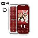 E75 Style WIFI Quad Band Dual Card Dual Standby TV Dual Camera JAVA QWERTY Keypad Metal Cover Side Slide Cell Phone Silver and Red