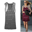 Round Neckline Sleeveless Nails Fur Embellished Women's Dresses(1801BA004-0741)