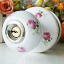 High Quality Ceramic Door Knob with Lock (Porcelain Door Knob) (0768-W29-ROS)