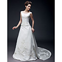 Princess A-line Off-the-shoulder Court Train Satin Wedding Dress