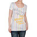 embroidery letters short sleeveless round neckline stripes women's t-shirts(8502bc008-0736)