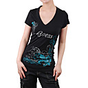 mangas cortas, escote V impresos Women's T-shirts (4201bc005-0813)