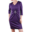 Beaded Gathered V Neckline Dresses / Women's Dresses (1801BD027-0736)
