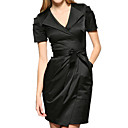 Pleated Short Sleeves Lapel Belted Dress / Women's Dresses (FF-1802BD011-0811)