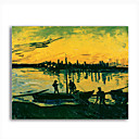 Stretched Canvas Handmade Unloading at Arles,1888 Painting  by Vincent Van Gogh  0192-YCF103204