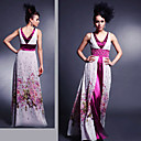 A-line V-neck Floor-length Sleeveless Elastic Silk-like Satin/ Silk Quick Delivery Dress (OFGH475)