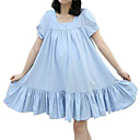 Cotton / Ruffles Hem Short Puffs Sleeves Round Neckline Dress / Women's Maternity Wear (FF-1802BF011-0736)