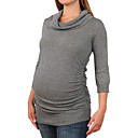Pile Collar Three-quarters Long Sleeves Longline Cashmere Sweater / Maternity Wear (FF-1005BF002-0681)