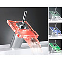 Color Changing LED Waterfall Centerset Single Handle Bathroom Sink Faucet - Chrome Finish