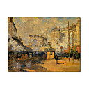 Handmade Exterior of Saint Lazare Station,Sunlight Effect painting by Claude Monet Stretched Ready to Hang(0192-YCF103445)