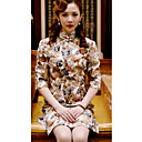 Mantel / Spalte Stehkragen Halbarm knielangen Baumwoll cheongsam / Qipao / chinesisches Kleid (hgqp299)