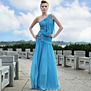 A-line One Shoulder Floor-length Sleeveless Satin/ Elastic Silk-like Satin Quick Delivery Dress (OFGH529)
