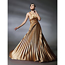 A-line One Shoulder Empire Sweep/ Brush Train Stretch Satin Evening Dress