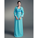 Sheath/ Column Straps Floor-length Satin Lace Mother of the Bride Dress With A Wrap