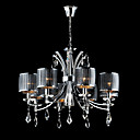 Iron Chrome 8-light Crystal Ceiling Light with Lamp Cover (1048-NT9702-8)