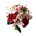 Elegant Silk Rose and Lily With Chiffon Decoration Round Wedding Bouquet /Bridal Bouquet