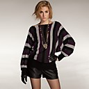 Vertical Stripes Long Sleeves Slit Neckline Longline Sweater / Women's Sweaters (FF-C-BI0736301)
