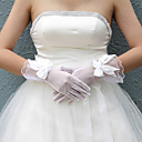 Lace/ Voile Fingertips Wrist Length Wedding Gloves