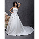 A-line Chapel Train Satin Wedding Dress