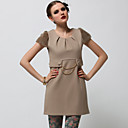 Rabbit Hair Chains Short Sleeves Round Neckline Dress / Women's Dresses (Beige) (FF-A-BK0996015)