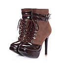 Suede Upper High Heels Mid-calf Boot With Strap / Lace up Fashion Shoe(0987-X3708)
