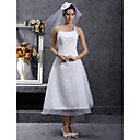 A-line Halter Tea-length Organza Wedding Dress with Beaded Appliques