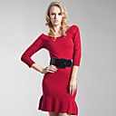 Slit Neckline Three-quarter Sleeves Ruffle Hem Cashmere Dress /  Women's Cashmere Sweaters (FF-C-Bl0681002)
