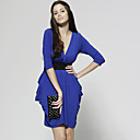 Three-quarters V Neckline Gathered Dress / Women's Dresses (FF-1801BE001-0851)