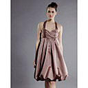 A-line Halter Knee-length Satin Bridesmaid/Wedding Party Dress