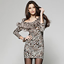 Multi-color Leopard Patterns Ruffles Long Sleeves Tunic / Women's Tunics (FF-D-BL0736715)