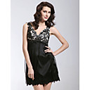 Sheath/ Column V-neck Short/ Mini Lace Satin Cocktail Dress