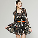 Printed Design Long Sleeves Layered Hem Dress / Women's Dresses (FF-D-CA1271002)