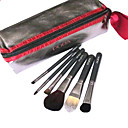 New 6 Pcs Wool Makeup Brush Set with Free Brown Case(0517-061)