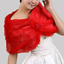 Sleeveless Faux Fur With Beadings Bridal Wedding Jacket/ Wrap