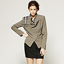 Badges Stand Collar Diagonal Zipper Blazer / Women's Outerwears (FF-D-CA1291002)