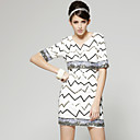 Sequins Half Sleeves Round Neckline Knit Dress / Women's Dress (White) (FF-A-BA0996021)