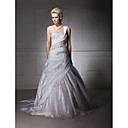 Ball Gown One Shoulder Taffeta Chapel Train Wedding Dress