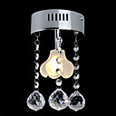 1-light K9 Crystal Ceiling Light With Mini Floral Glass Lampshade (0942-98012-C-1B)
