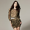 100% Silk Weaving Design Belt Leopard Patterns Layered Hem Dress / Women's Dresses (FF-A-BA0997001)