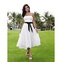 A-line Strapless Tea-length Chiffon Over Elastic Woven Satin Wedding Dress with Ribbon