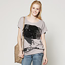 Porstait Mesh Beaded Printed Loose T-shirt / Women's T-shirts (FF-D-CC1260002)