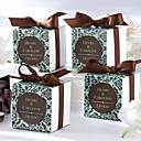 Chocolate & Turquoise Damask Favor Box (Set of 12)