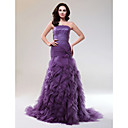 Trumpet/Mermaid Strapless Court Train Tulle Evening Dress With Cascading Ruffles