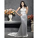 Trumpet/Mermaid Halter Sleeveless Court Train Satin Wedding Dress