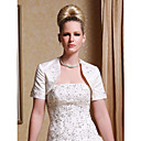 Short Sleeves Satin With Appliques/ Beading Bridal Jacket/ Wedding Wrap