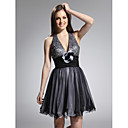 Clearance! A-line Halter Short/ Mini Tulle Taffeta Cocktail Dress